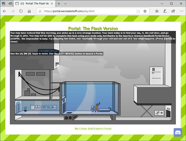 Un site cu conținut Flash încărcat în vechiul Microsoft Edge