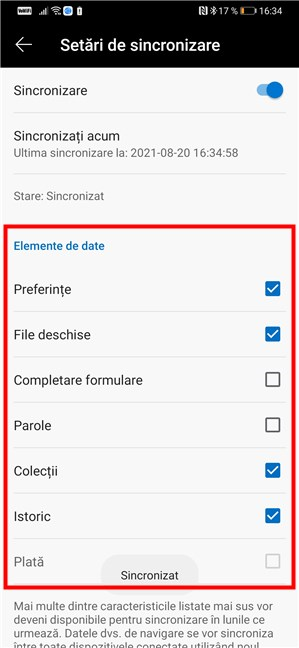 Selectarea lucrurilor care vrei să fie sincronizate de Microsoft Edge