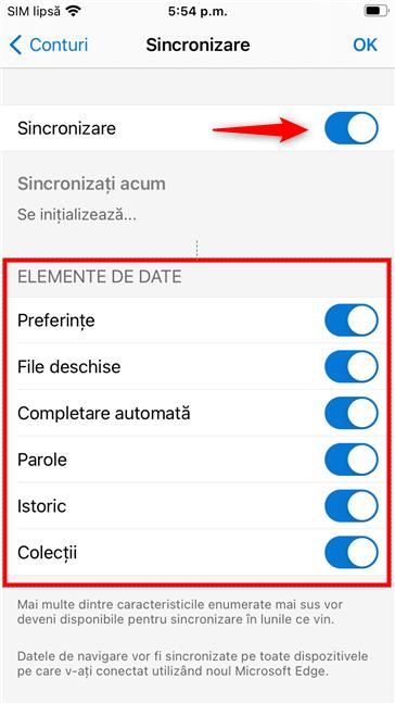 Activarea sincronizării Edge pe un iPhone și alegerea elementelor de sincronizat