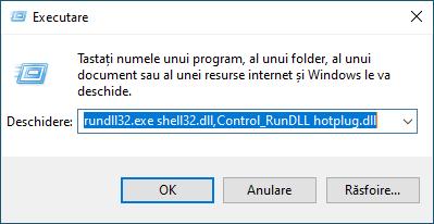 Folosește fereastra Executare pentru a scoate hard disk-ul extern