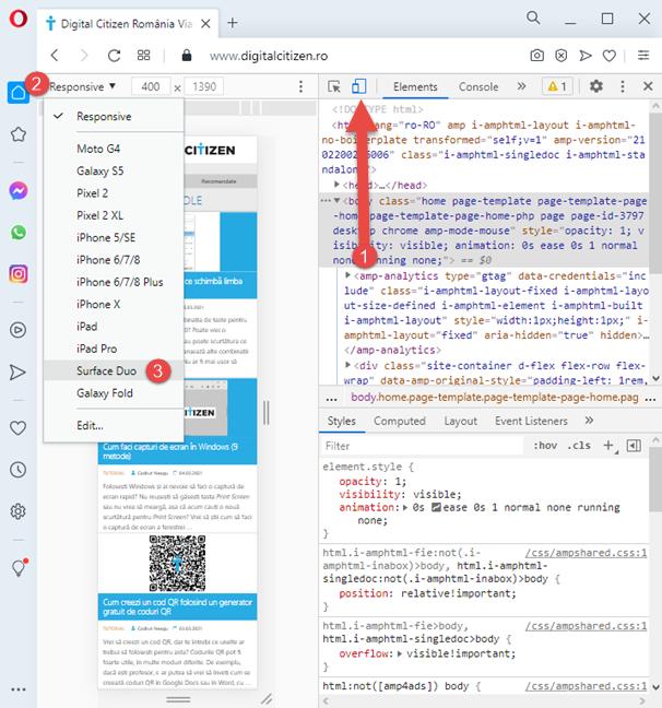 Activează emulatorul pentru browsere mobile din Opera
