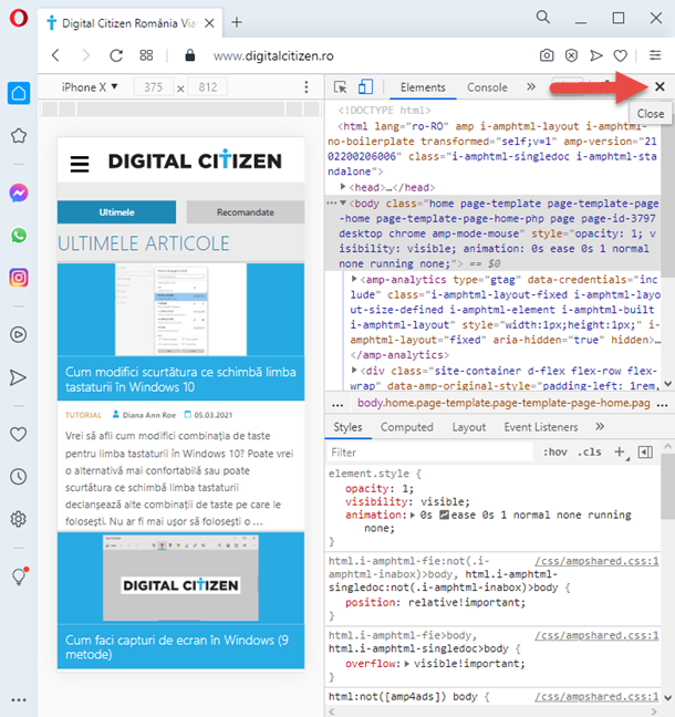 Cum închizi emulatorul de browsere mobile din Opera