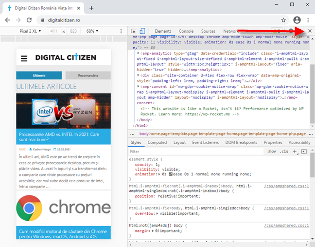 Cum închizi emulatorul de browsere mobile din Google Chrome