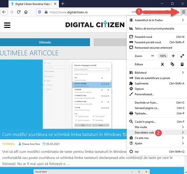 Accesează uneltele pentru Dezvoltatori web în Firefox