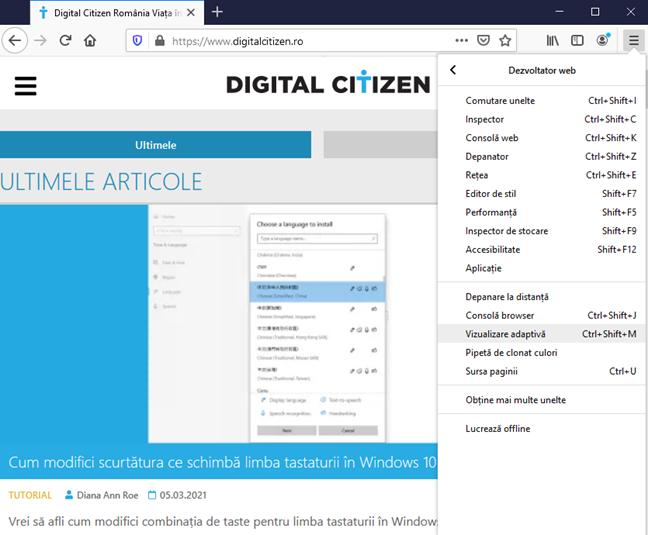 Alege Vizualizare adaptivă în Firefox