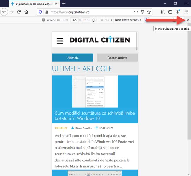 Cum închizi emulatorul de browsere mobile din Firefox