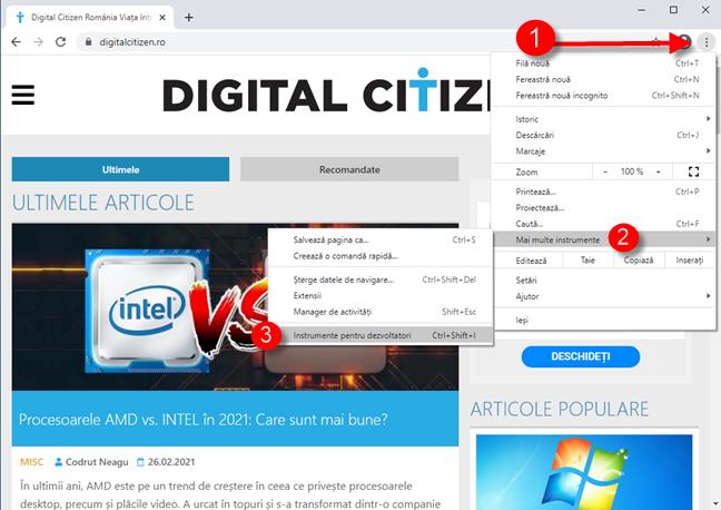 Accesează Instrumente pentru dezvoltatori în Google Chrome