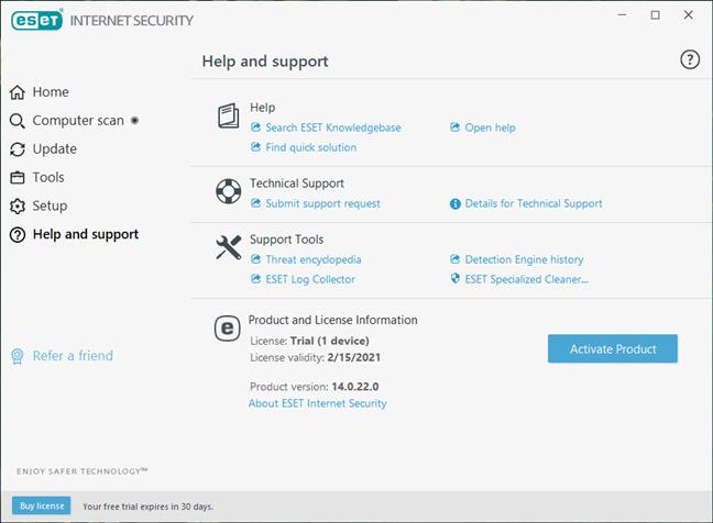 Opțiuni de ajutor și suport disponibile în ESET Internet Security