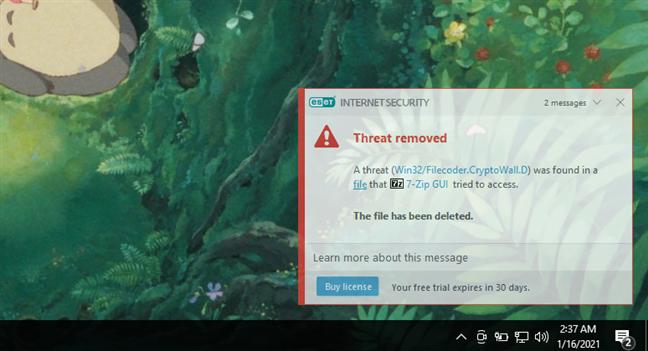 O notificare afișată de ESET Internet Security
