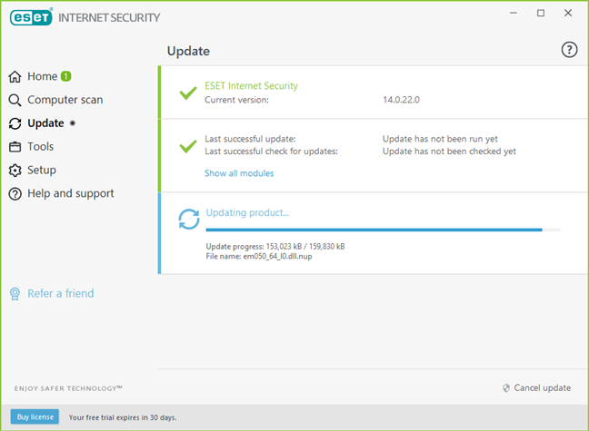 ESET Internet Security își actualizează definițiile de viruși imediat după instalare