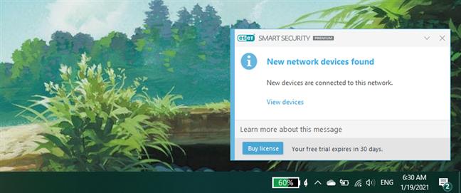 Notificare afișată de ESET Smart Security Premium