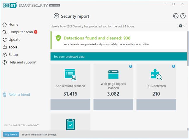 Rapoarte și jurnale de securitate disponibile în ESET Smart Security Premium