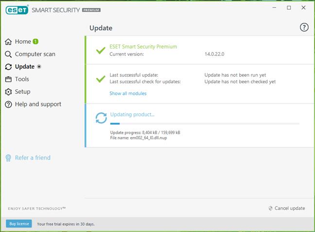 ESET Smart Security Premium își actualizează baza de date malware