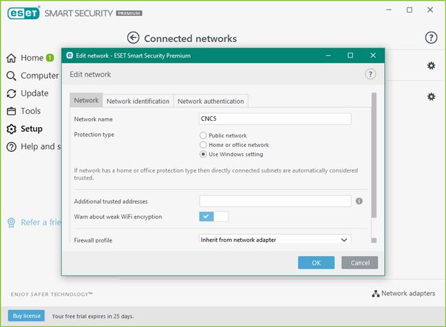 Opțiunile pentru tipul de protecție al rețelei oferite de firewall-ul ESET