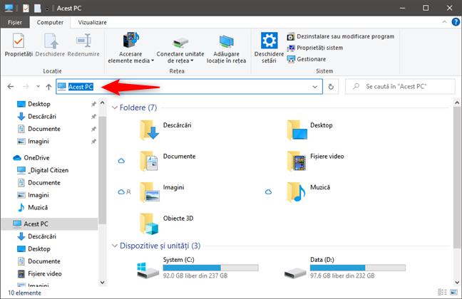 Bara de adresă din File Explorer
