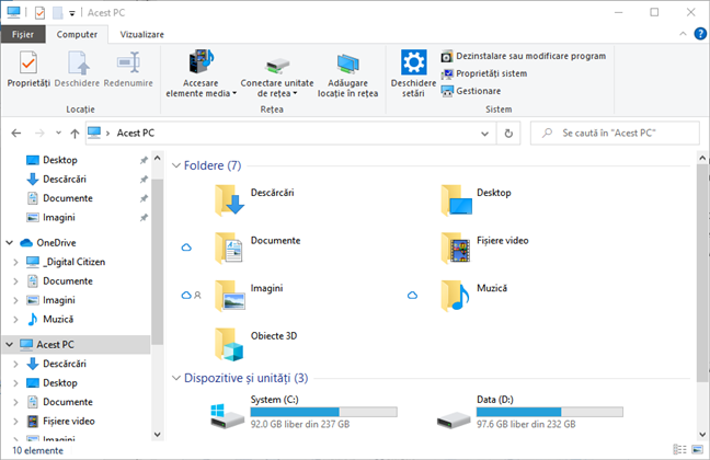 File Explorer în Windows 10