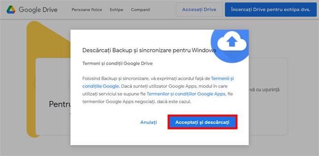 Descărcarea aplicației Backup și sincronizare Google Drive pentru Windows