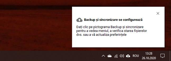 Backup și sincronizare se configurează