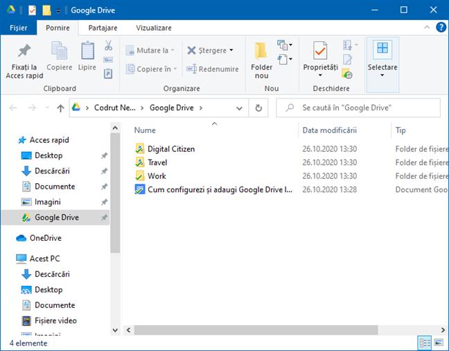 Google Drive este adăugat în Acces rapid la (File) Explorer