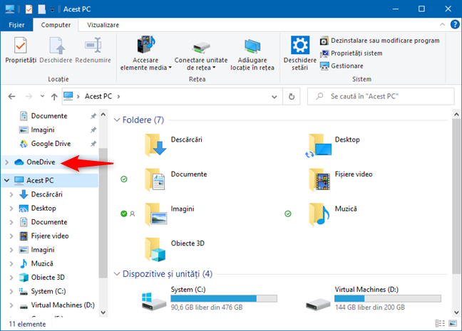 Scurtătura OneDrive din (File) Explorer