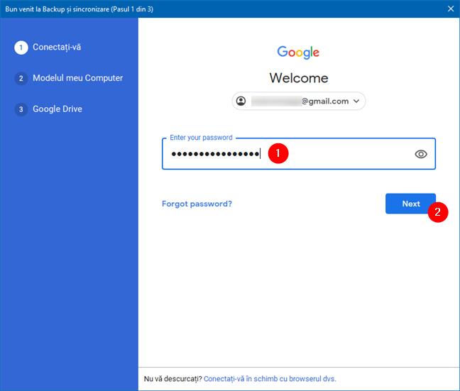 Introducerea parolei pentru contul Google