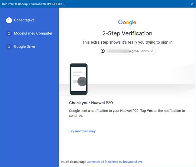 Aprobare verificare în 2 pași pentru conectare la Google