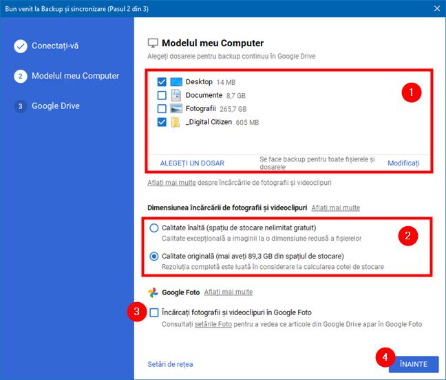Alegerea folderelor pentru care se face backup, precum și a setărilor pentru fotografii și clipuri video
