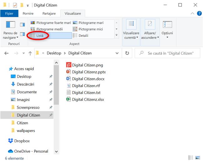 Listează tot ce este în folderul tău pentru a te uita cu atenție la numele elementelor