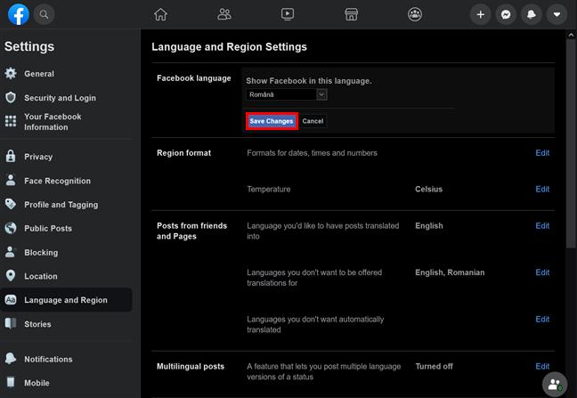 Apasă Save Changes pentru a te bucura de noile setări de limbă de pe Facebook