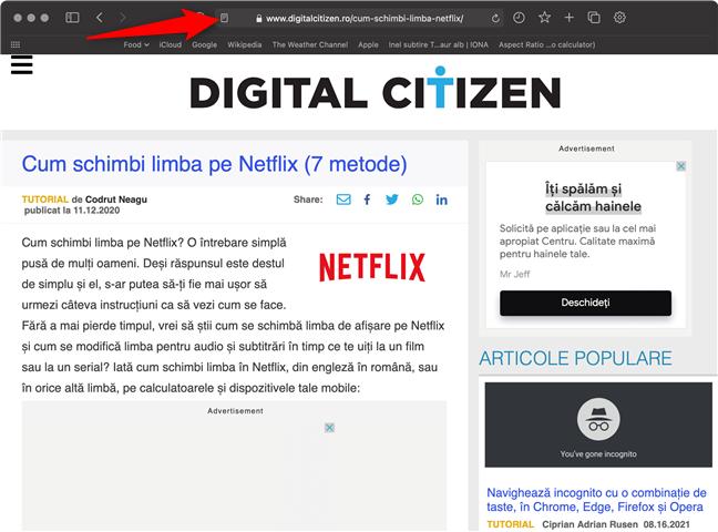 Apasă pictograma Afișează pagina în cititor din Safari