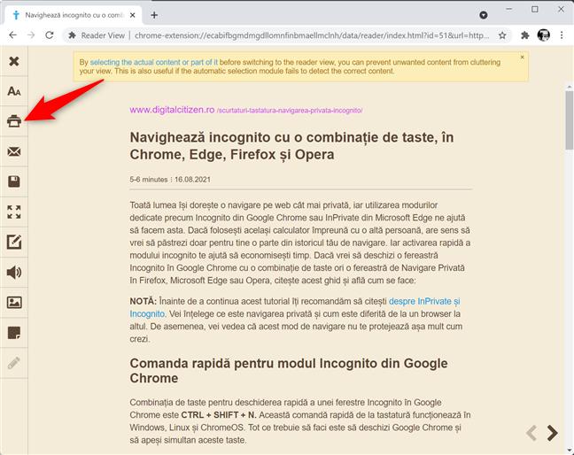 Folosește o extensie pentru a tipări fără reclame în Chrome