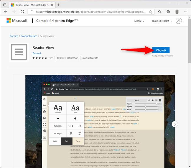 Obține add-onul Reader View pentru a tipări fără reclame