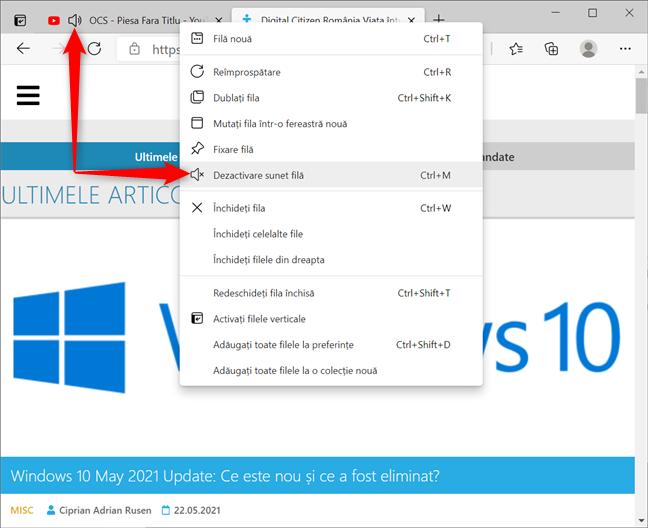 Cum dezactivezi sunetul unei file în Microsoft Edge