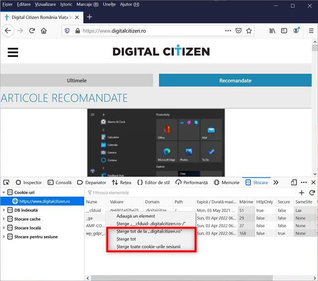 Alege una din celelalte trei opțiuni de a șterge Firefox din Developer Tools