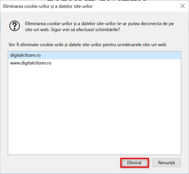 Șterge cookie-uri din Firefox pentru un anumit site web