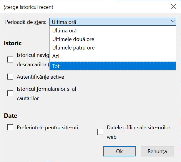 Selectează Tot pentru a șterge cookie-urile din Firefox