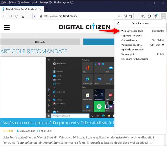 Accesează Web Developer Tools pentru a vedea cookie-uri în Firefox