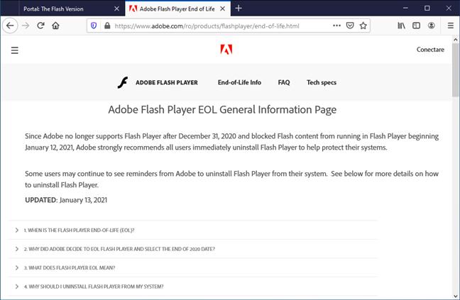Adobe Flash Player EOL 2021