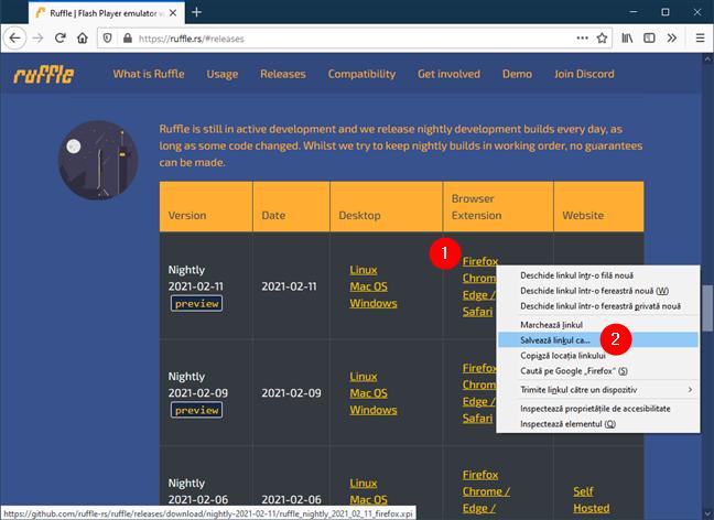 Extensia web Ruffle Flash pentru Firefox