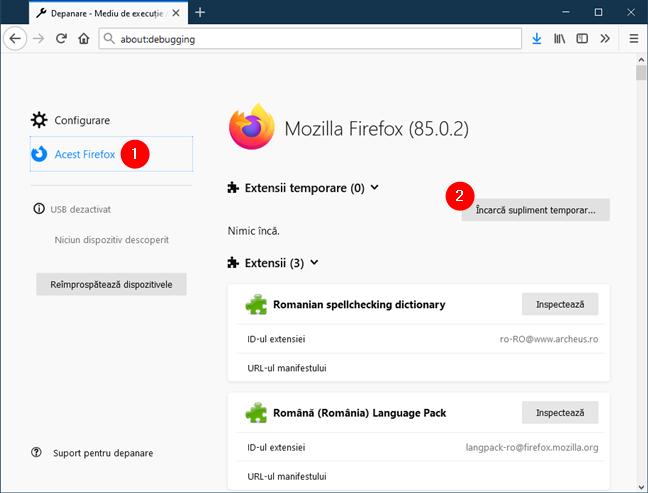 Încarcă supliment temporar în Firefox