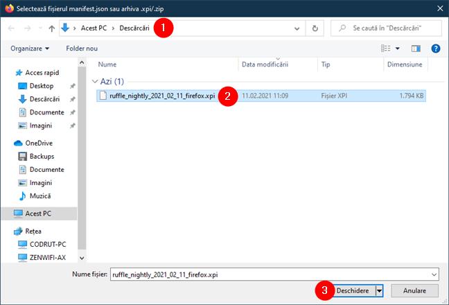 Încărcarea extensiei Ruffle Flash în Firefox