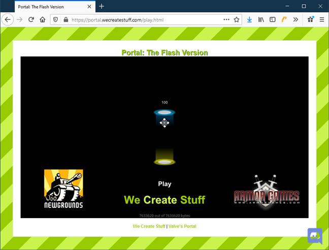 Firefox a activat Flash folosind Ruffle