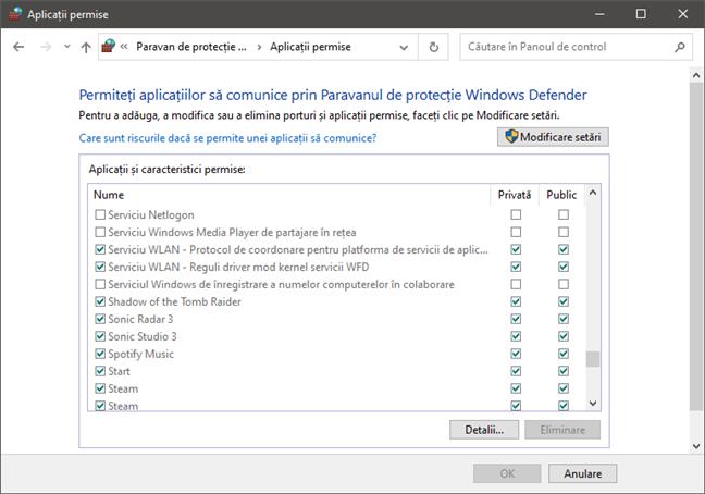 Permiteți aplicațiilor să comunice prin Paravanul de protecție Windows Defender
