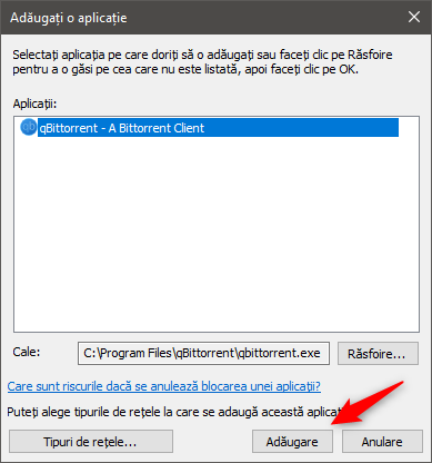 Adăugarea aplicației la lista firewall-ului