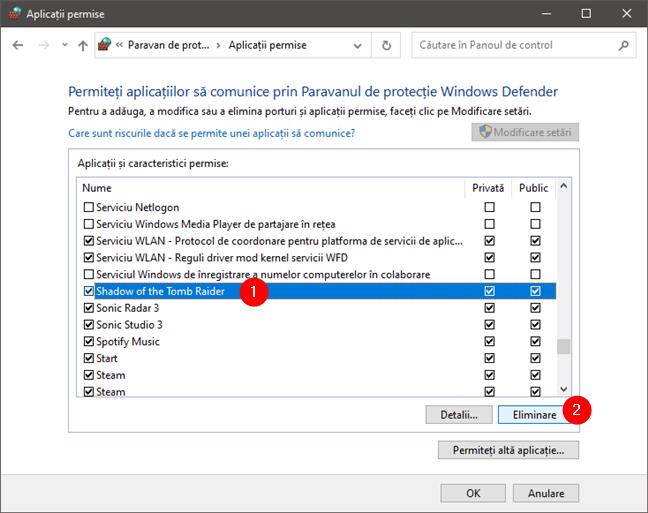 Eliminarea unei aplicații din lista de aplicații permise de firewall