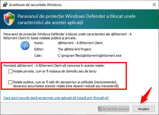 Alegerea de a bloca accesul la internet pentru o anumită aplicație