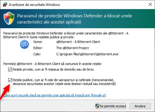 Permisiune pentru un program de a trece prin Windows Firewall