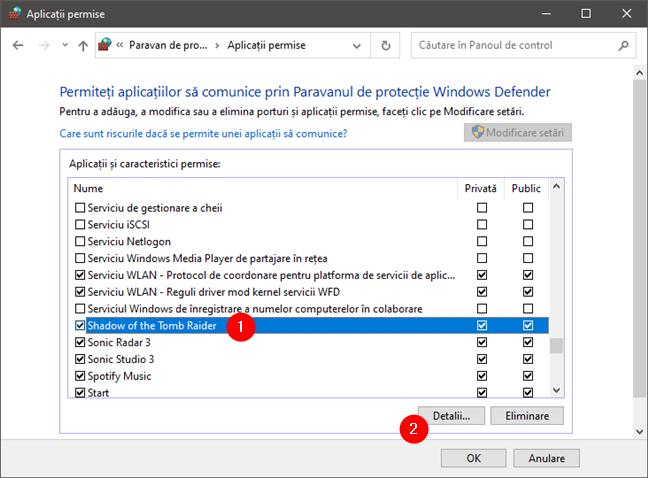 Detalii despre regulile de firewall ale unei aplicații