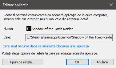 Editare aplicație - detalii firewall despre programul (jocul) selectat