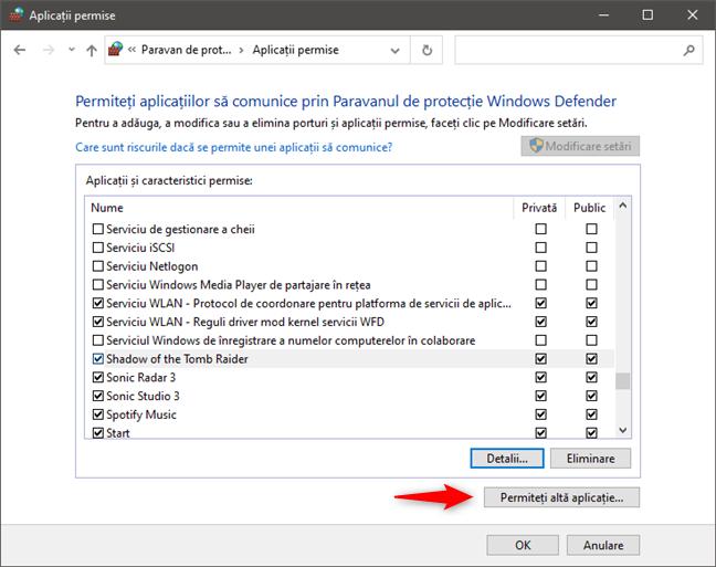 Permite unei alte aplicații să treacă de Windows Firewall